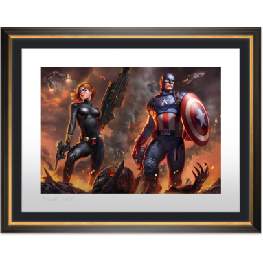 ART PRINT BLACK WIDOW AND CAPTAIN AMERICA